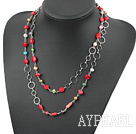 fashion long style pearl and red coral necklace