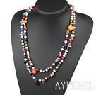 Wholesale fashion long style dyed colorful  pearl shell crystal necklace