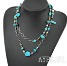 fashion long style pearl and turquoise necklace