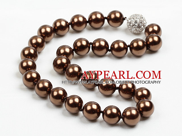 14mm Dark Brown Color Round Sea Shell Beaded Necklace with Magnetic Clasp