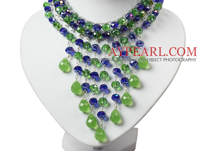 Amazing Blue and Green Teardrop Crystal Tassel Party Necklace