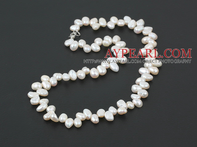 17.5 inches white pearl necklace with lobster clasp