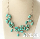 Wholesale 19.5 inches burst pattern turquoise necklace with metal chain