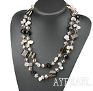 Long Style Smoky Quartz and Gray Agate Necklace