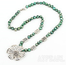 green pearl and tibet flower necklace with lobster clasp