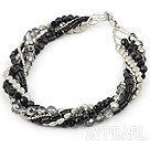 multi strand black crystal and black agate necklace