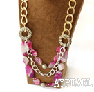 fashion pink agate necklace with golden color metal chain