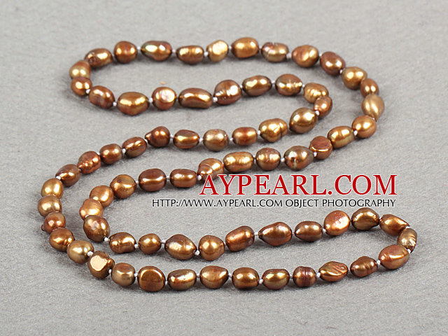 Simple Fashion Long Style Natural Deep Brown Baroque Pearl Necklace