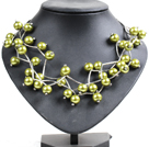 Trendy Style Multi Strand Kelly Green Seashell Beads Twisted Necklace With Bending Alloyed Tube