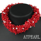 handcrafted gorgeous 7 strand real pearl and red coral necklace