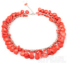 red coral necklace with lobster clasp