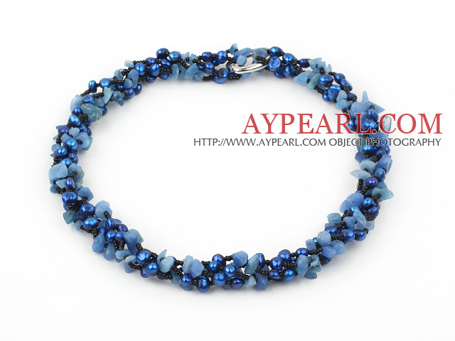 fashion long style 6-8mm blue pearl and blue gem necklace