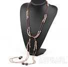 wonderful fashion long style natural purple pearl and amethyst necklace