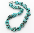 Wholesale popular chunky style blue turquoise necklace