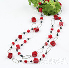 51 inches black pearl and red coral long style necklace