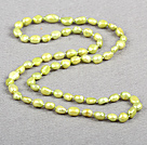 Simple Fashion Long Style Natural Fruit Green Baroque Pearl Necklace
