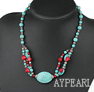 Wholesale 17.5 inches turquoise and red coral necklace with moonlight clasp