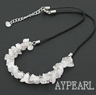 Wholesale simple and fashion 6-8 rose quartze necklace with extendable chain