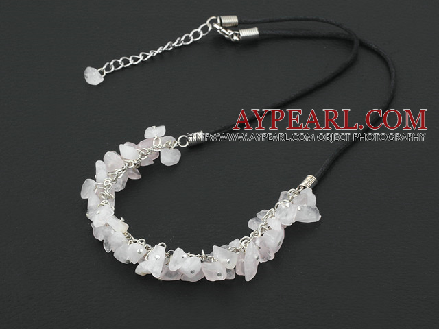 simple and fashion 6-8 rose quartze necklace with extendable chain