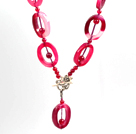 Pink Series Wire Wrapped Pink Crystallized Agate Pendant Necklace with Brown Leather