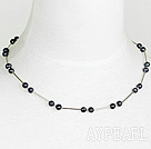 Wholesale 6-7mm natural fresh water black pearl necklace