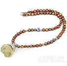 Wholesale Brown Freshwater Pearl Necklace with Lemon Quartz Pendant ( Irregular Shape )