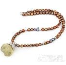 Wholesale Brown Freshwater Pearl Necklace with Lemon Quartz Pendant ( Irregular Shape )