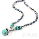 17.5 inches black pearl and blue turquoise necklace with lobster clasp
