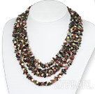 Fire Strands Natural Tourmaline Chips og Pearl Necklace
