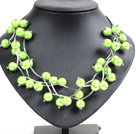 Trendy Style Multi Strand Emerald Green Seashell Beads Twisted Necklace With Bending Alloyed Tube