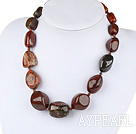 Wholesale Elegant Chuncky 12*25Mm Red Jasper Beads Necklace With Moonight Clasp