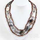 Wholesale three strand brown pearl gray agate necklace with heart shape clasp