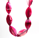 Wholesale Rose Pink Stripe Agate Necklace with Big Lobster Clasp