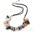 simple and fashion multi color stone necklace with extendable chain