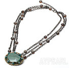 Discount Natural Green Agate and Smoky Quartz Necklace with Metal Chain