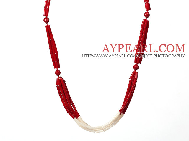 Fashion Style Cylinder Shape Red and White Coral Necklace