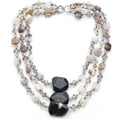 Multi Strands Madagascar Agate and Crystal Necklace