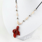 Wholesale simple and fashion natural trumpet flower agate necklace with extendable chain
