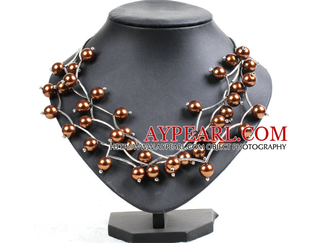 Trendy Style Multi Strand Coffee Seashell Beads Twisted Necklace With Bending Alloyed Tube