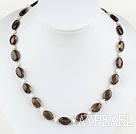 Wholesale 17.5 inches white pearl and dropped shape smoky quartz necklace with toggle clasp