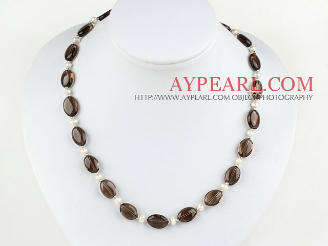 17.5 inches white pearl and dropped shape smoky quartz necklace with toggle clasp