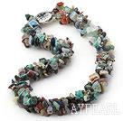 18.5 inches 3 strand multi colored stone necklace
