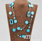e perle coquille bleue à long necklace collier