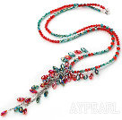 Wholesale Assorted Green and Red Color Crystal Y Shape Necklace