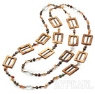 Wholesale trendy long style natural agate pearl shell necklace