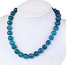 17.5 inches 14mm blue agte necklace with moonlight clasp