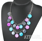 Dyed Multi Color Round Shell Necklace with Metal Loop
