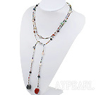 Wholesale sodalite and red gem and multi colored pearl long style necklace