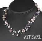 Wholesale bridal jewelry natual purple pearl and mutil color stone necklace