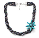 Wholesale bridal jewelry multi strand black pearl blue turquoise flower necklace with extendable chain